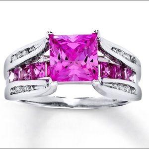 Pink Sapphire & Diamond White Gold Ring